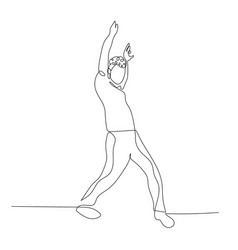 continuous one line dancing man with curly hair in vector image