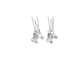 continuous one line drawing couple legs in roller vector image