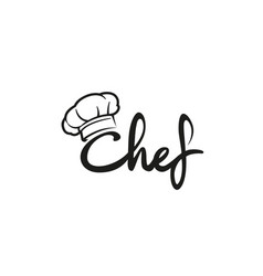 Creative chef hat symbol text font letter logo vector
