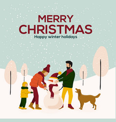 cristmas cards design flat 3 vector image