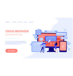 Cross-browser compatibility concept landing page vector