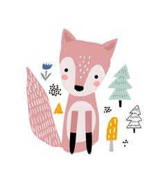 cute cartoon fox print childish print for nursery vector image