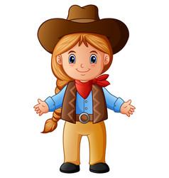 Cute little cowgirl cartoon vector