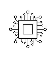 digital processor chip icon vector image