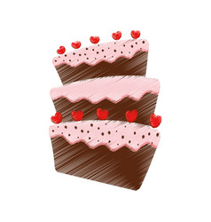 Drawing cake dessert red heart vector