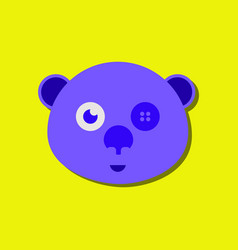 Flat icon design teddy bear face in sticker style vector