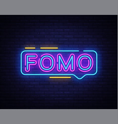 fomo neon text fomo neon sign design vector image