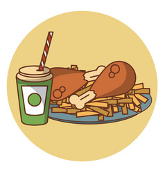Fried chicken combo fast food vector