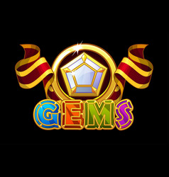gems logo and icons jewerl stones with red ribbon vector image