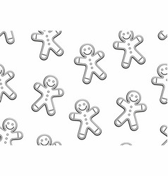 gingerbread man seamless pattern vector image
