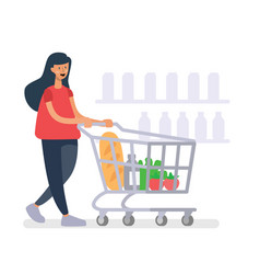 Girl with a grocery cart makes purchases in shop vector