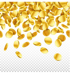 Gold falling 3d coins on transparent background vector