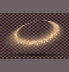 Gold glitter trail on transparent background vector