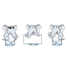 Gray Elephant Mascot happy vector