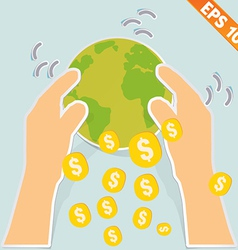 Hand holding earth with money - - EPS10 vector
