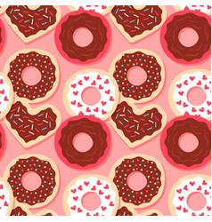 heart shape donut valentines seamless pattern vector image