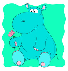 Hippo with a flower vector