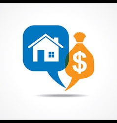Home and dollar symbol in message bubble vector image