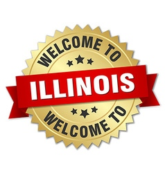 Illinois 3d gold badge with red ribbon vector