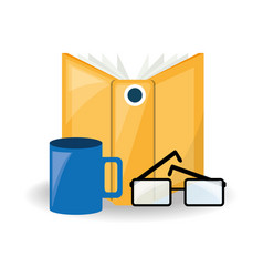 Interesting book with glasses and coffee cup vector