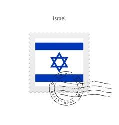 Israel flag postage stamp vector