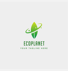 leaf planet nature simple logo template icon vector image