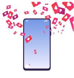 Likes addiction phone with likes social media vector