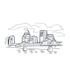 Louisville kentucky usa america sketch city line vector