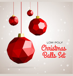 Low poly merry christmas balls vector