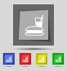 lunch box icon sign on original five colored vector image