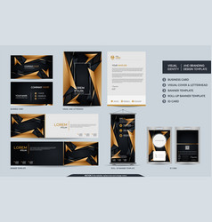 Luxury black and gold stationery mock up vector