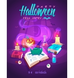 Magic book with frog Halloween cardposter vector image