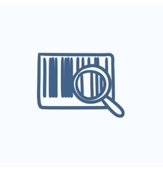 Magnifying glass and barcode sketch icon vector image