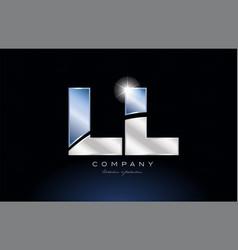 Metal blue alphabet letter ll l l logo company vector