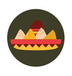 mexican sombrero with nachos food snack block and vector image