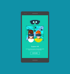 mobile phone with flat style virtual vector image