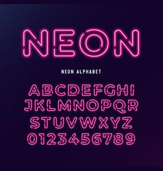 neon light modern font tube letters vector image