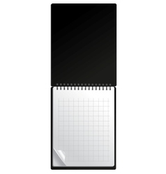 Open black notebook with page curl vector image
