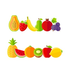 Organic farm fruits in flat style vector image