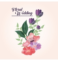 Painting flower icon Floral wedding design vector image