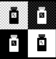 pill bottle with rx sign and pills icon isolated vector image