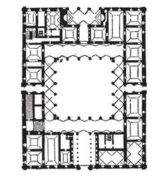 Plan of farnese palace high renaissance palace vector