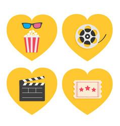 pop corn heart icon set 3d glasses movie reel vector image