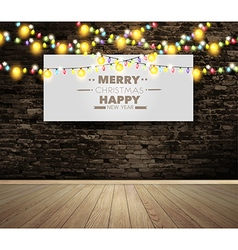 Poster on wall room with christmas lights vector