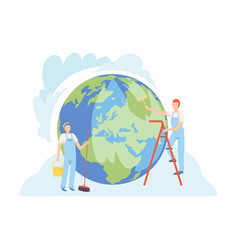 professional cleaners cleaning earth planet vector image