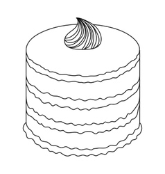 Purple cake icon in outline style isolated on vector