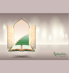 ramadam kareem text greeting card open book of vector image