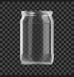 Realistic empty glass jar isolated on dark vector