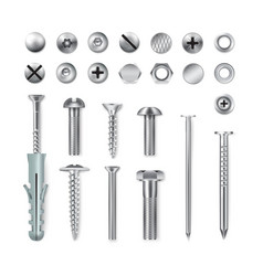 realistic fastening items set vector image