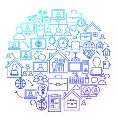 remote work line icon circle design vector image